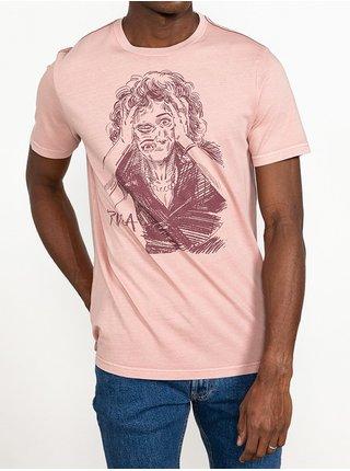RVCA CHANGING FACE  PALE MAUVE pánské triko s krátkým rukávem - béžová