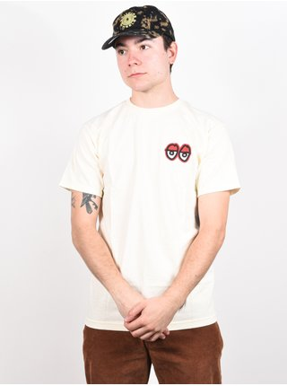 Krooked STRAIT EYES CREAM/RED pánské triko s krátkým rukávem - bílá