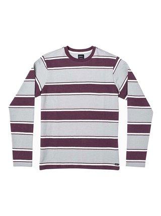 RVCA REDUCER STRIPE OXBLOOD RED pánské triko s dlouhým rukávem - bílá