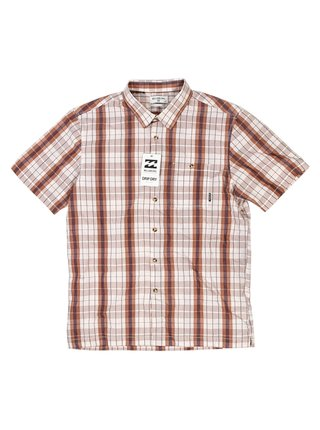 Billabong VALDEZ ROCK košile pro muže krátký rukáv - béžová