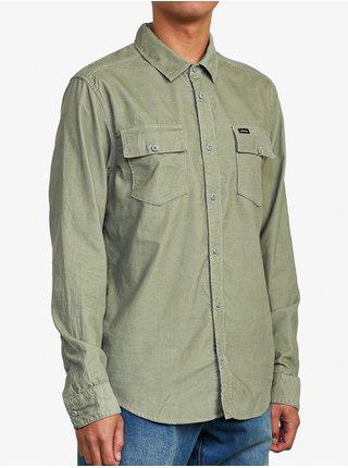 RVCA FREEMAN CORD ALOE pánské košile s dlouhým rukávem - zelená