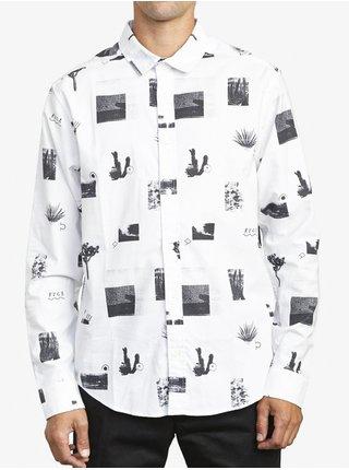 RVCA DESERTER white pánské košile s dlouhým rukávem - černá