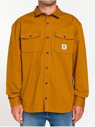 Element BUILDER REPREVE GOLD BROWN pánské košile s dlouhým rukávem - hnědá