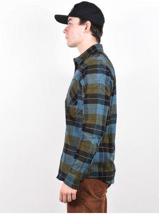Volcom Caden Plaid MILITARY pánské košile s dlouhým rukávem - modrá