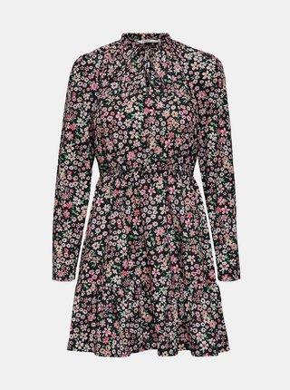 Růžovo-černé květované šaty se stojáčkem ONLY Sylvia