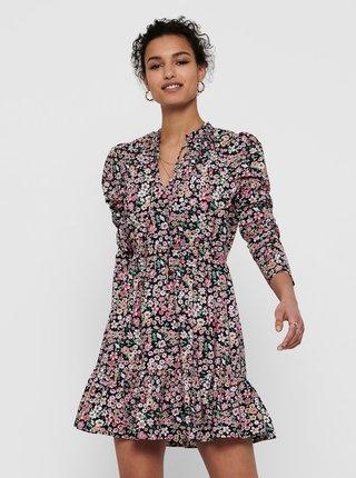 Růžovo-modré květované šaty se stojáčkem ONLY Sylvia