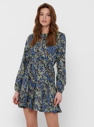 Modré květované šaty s průstřihem Jacqueline de Yong Mia