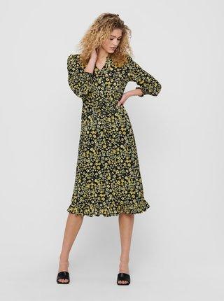 Žluté květované šaty ONLY Pella