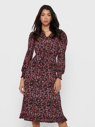 Růžové květované šaty ONLY Pella
