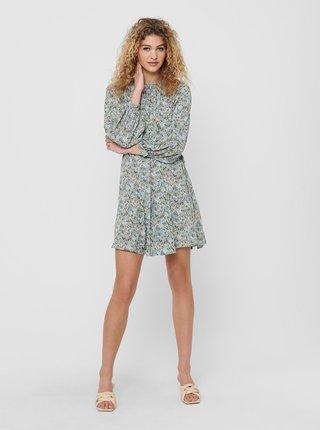 Světle modré květované volné šaty ONLY Kendall
