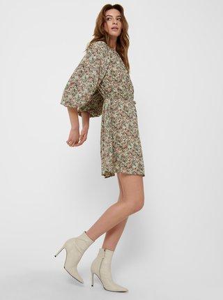 Khaki květované volné šaty ONLY Kendall