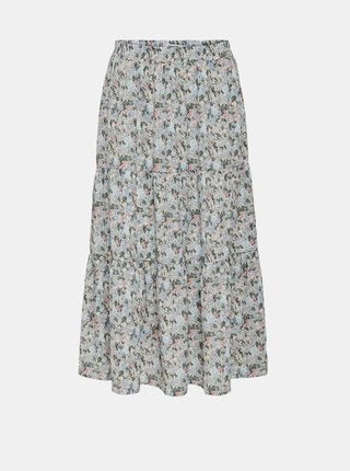 Svetlomodrá kvetovaná midi sukňa ONLY Kendall
