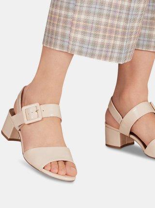 Krémové lesklé sandálky na podpätku Tamaris