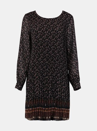 Černé vzorované plisované šaty Zabaione