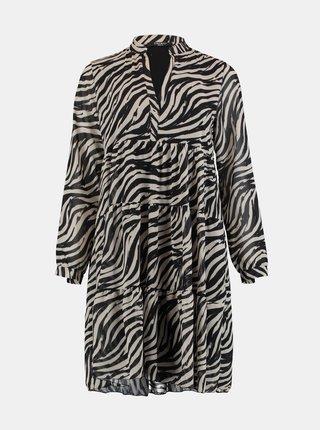 Krémovo-černé vzorované šaty Zabaione