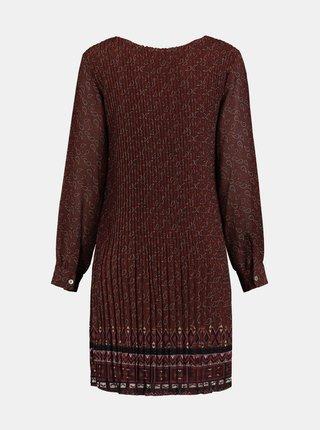 Hnedé vzorované plisované šaty Zabaione