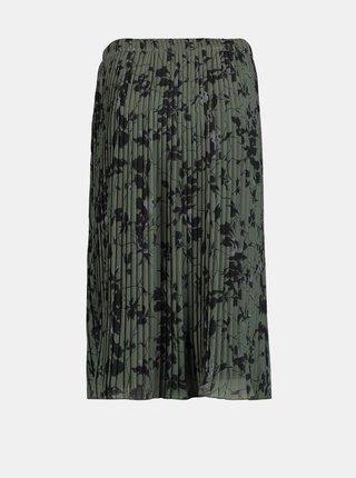 Zelená květovaná plisovaná midi sukně Zabaione