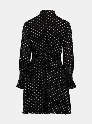 Černé puntíkované košilové šaty Zabaione