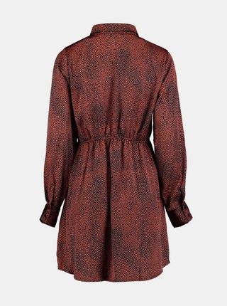 Hnedé vzorované košeľové šaty Zabaione