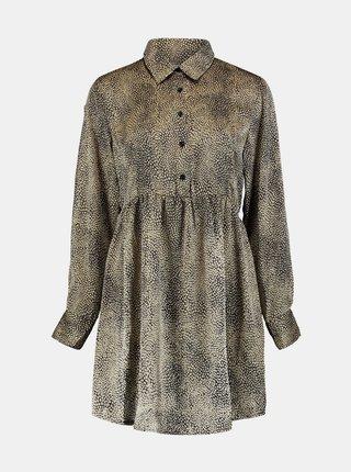 Béžové vzorované košilové šaty Zabaione