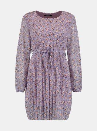 Fialové kvetované plisované šaty Zabaione