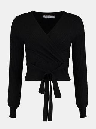 Čierny krátky zavinovací sveter Hailys