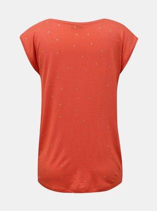 Korálové vzorované tričko Pieces Milly
