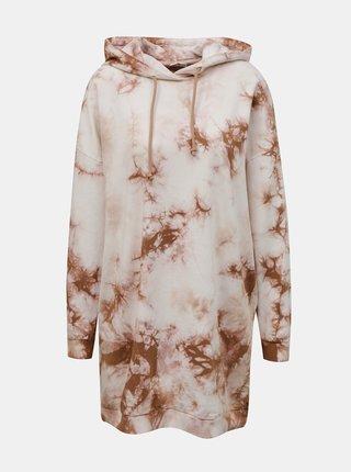 Hnědo-bílé vzorované mikinové šaty Noisy May Ilma
