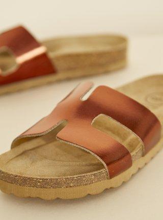 Hnědé dámské kožené lesklé pantofle OJJU