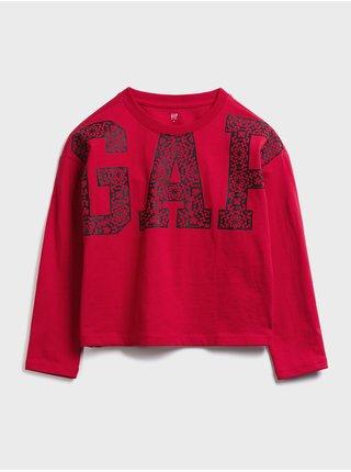 Červené klučičí dětské tričko GAP Logo jac ls cny tee