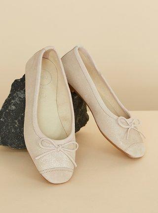 Béžové kožené trblietavé baleríny OJJU