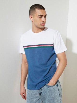 Modro-bílé pánské tričko Trendyol