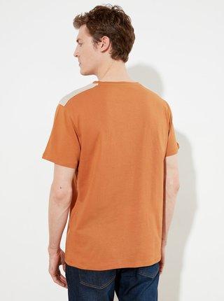 Hnědé pánské tričko Trendyol