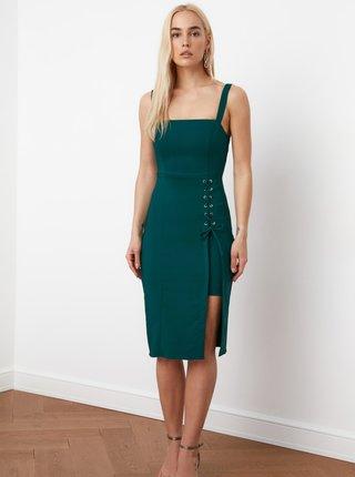 Petrolejové púzdrové šaty so zaväzovaním Trendyol