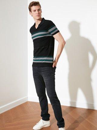 Černé pánské pruhované polo tričko Trendyol