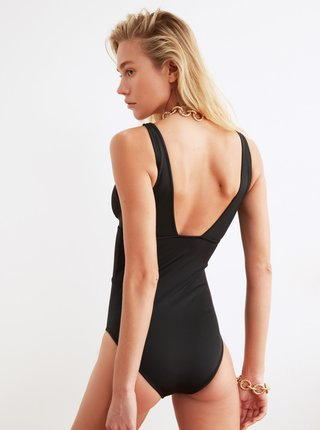 Černé jednodílné plavky se zavazováním Trendyol