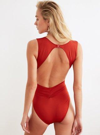 Červené jednodílné plavky Trendyol