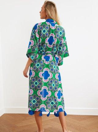 Zeleno-modrý vzorovaný kaftan Trendyol