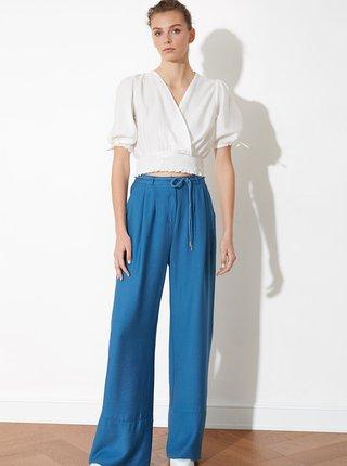 Modré dámske široké nohavice Trendyol