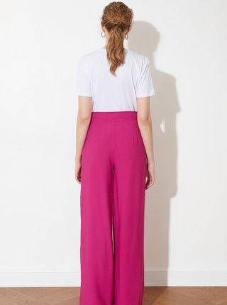 Růžové dámské široké kalhoty Trendyol