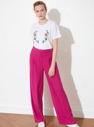 Ružové dámske široké nohavice Trendyol