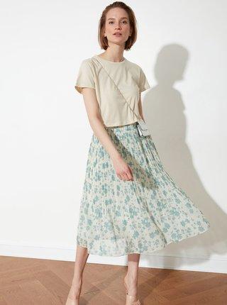Modro-krémová květovaná plisovaná midi sukně Trendyol