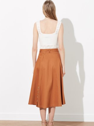 Hnedá midi sukňa s gombíkmi Trendyol