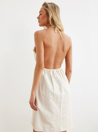 Krémové šaty s třásněmi Trendyol