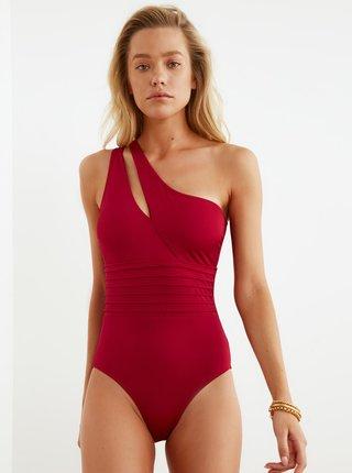 Červené jednodielne asymetrické plavky Trendyol