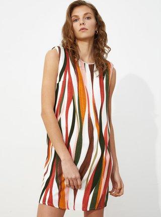 Hnedo-biele vzorované šaty Trendyol