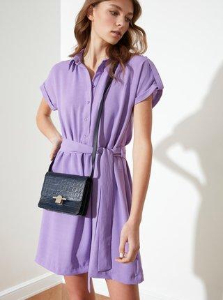 Fialové košilové šaty se zavazováním Trendyol