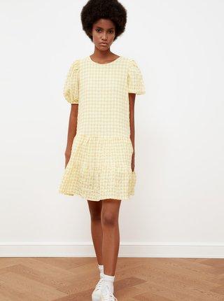 Žluté kostkované volné šaty Trendyol