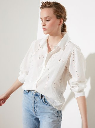 Bílá dámská volná košile s madeirou Trendyol