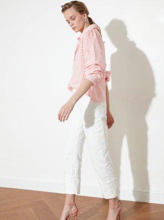 Růžová dámská volná košile s madeirou Trendyol